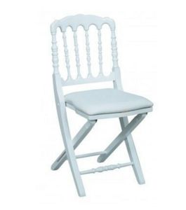DECO PRIVE - chaise napoleon iii blanche pliante - Chaise Pliante