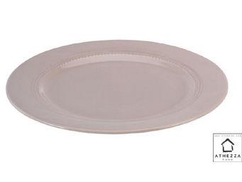 Athezza - assiette plate delphine taupe d28,5cm - Assiette Plate