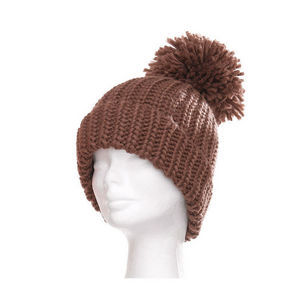 WHITE LABEL - bonnet grosse maille avec large revers et gros pom - Bonnet