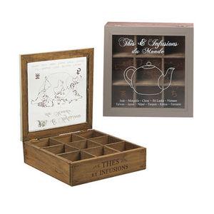 WHITE LABEL - boîte à tea time 9 cases en pin avec couvercle - Boite À Thé