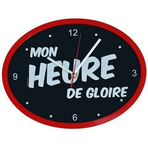 WHITE LABEL - horloge ovale cadre mon heure de gloire - Pendule Murale