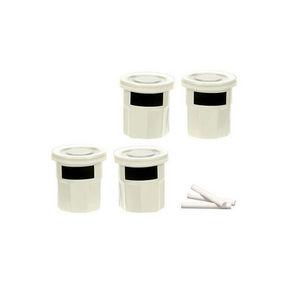 WHITE LABEL - 4 pots à épices en grès avec étiquette en ardoise - Pot À Épices