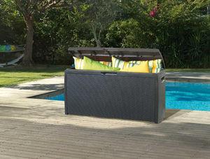 Chalet & Jardin - coffre de jardin 265 litres en r�sine aspect rotin - Coffre De Jardin