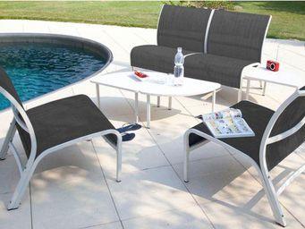 PROLOISIRS - salon linéa lounge 4 fauteuils 3 tables blanc sand - Salon De Jardin