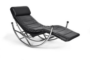KOKOON DESIGN - fauteuil rocking-chair design en similicuir noir 1 - Fauteuil De Relaxation