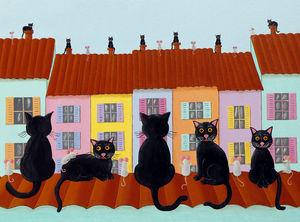 FRANÇOISE LEBLOND - toile sur châssis les chats sur les toits de franç - Tableau Décoratif Enfant