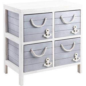 jardindeco - commode 4 tiroirs marina en bois et corde 48x29x50 - Meuble De Salle De Bains