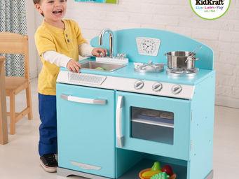 KidKraft - cuisine r�tro bleue pastel en bois 66x36x68cm - Jouets De Poup�e