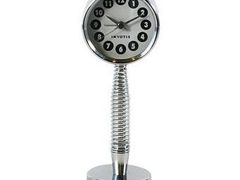 INVOTIS - horloge petite sur fond argent tige flexible - Horloge � Poser