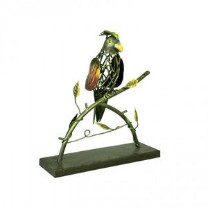 Demeure et Jardin - perroquet coloré en fer forgé - Sculpture Animalière