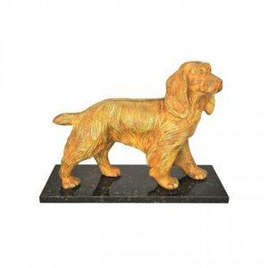 Demeure et Jardin - chien cocker bronze sur socle marbre - Sculpture Animalière