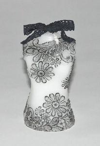Demeure et Jardin - bougie blanche buste femme dentelle noire - Bougie D�corative