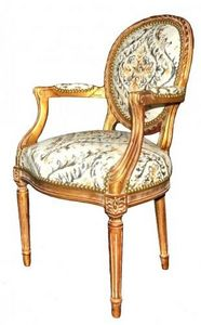 Demeure et Jardin - fauteuil cabriolet lin imprim� - Fauteuil M�daillon