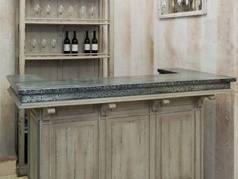 PROVENCE ET FILS - bar la coupole / structure patin�e et plateau zinc - Comptoir De Bar