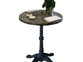 PROVENCE ET FILS - table absinthe dia 60 *h76 / plat zinc rembord� / - Table Bistrot