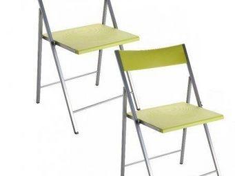 WHITE LABEL - belfort lot de 2 chaises pliantes vert anis - Chaise Pliante