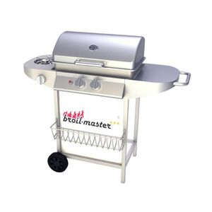 WHITE LABEL - barbecue à gaz 2 brûleurs avec thermomètre - Barbecue Au Gaz
