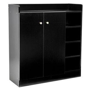 WHITE LABEL - meuble armoire à chaussure bois tiroirs noir - Meuble À Chaussures