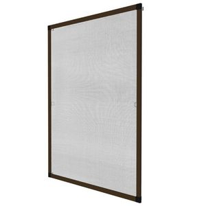 WHITE LABEL - moustiquaire pour fenêtre cadre fixe en aluminium 80x100 cm brun - Moustiquaire De Fenêtre