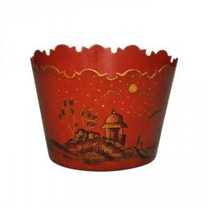 Demeure et Jardin - jardiniere rouge temple chinois en tôle peinte tai - Cache Pot