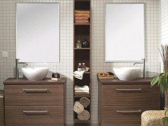 UsiRama.com - double meubles salle de bain double-chocolat - Meuble Double Vasque