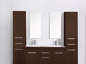 UsiRama.com - meuble salle de bain 2 vasques think maron - Meuble Double Vasque