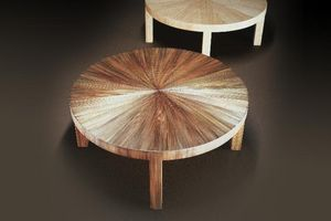 Ecart International -  soleil en paille 1930 - Table Basse Ronde