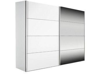 WHITE LABEL - dressing kick 252cm avec melamin� blanc mat et mir - Armoire � Portes Coulissantes