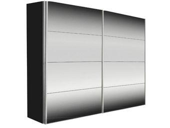 WHITE LABEL - dressing kick 202cm miroir et cadre noir avec port - Armoire � Portes Coulissantes