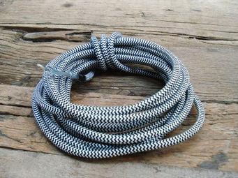COMPAGNIE DES AMPOULES A FILAMENT - cable textile noir blanc - Cable Électrique