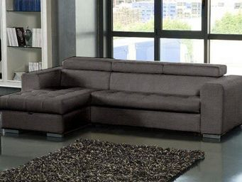 WHITE LABEL - canapé d'angle gauche samuel convertible lit gigo - Bibliothèque Modulable