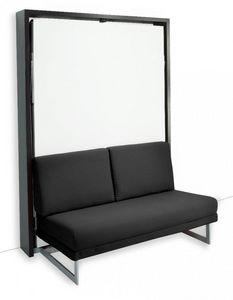 WHITE LABEL - armoire lit verticale magic canapé intégré microfi - Lit Escamotable