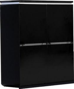WHITE LABEL - armoire de rangement 4 portes noir laqu� avec �cla - Vaisselier