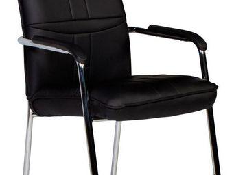 WHITE LABEL - chaise noir et acier chromé avec accoudoirs - Chaise De Bureau