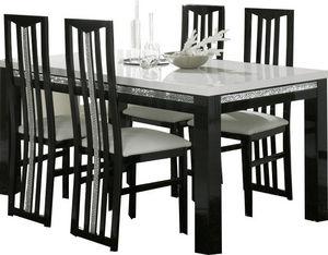 COMFORIUM - table à manger 190cm + 4 chaises noires et blanche - Salle À Manger