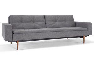 INNOVATION - canapé design dublexo avec accoudoirs gris pieds n - Canapé Lit