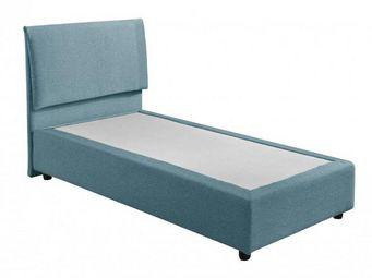 WHITE LABEL - lit design haut de gamme fouquet 90*190 cm tissu t - Lit Simple