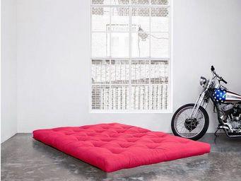 WHITE LABEL - matelas futon confort rose 140*200*15cm - Futon
