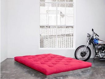 WHITE LABEL - matelas futon double latex rose 90*200*18cm - Futon