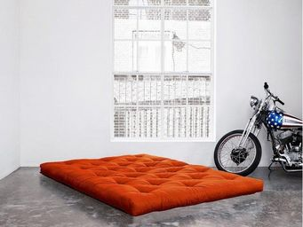 WHITE LABEL - matelas futon double latex orange 140*200*18cm - Futon