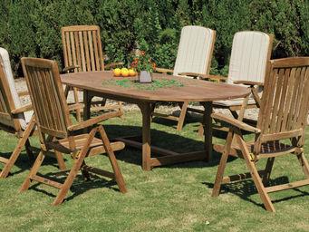 HEVEA - salon jardin teck table ovale seroni macom - Salle À Manger De Jardin