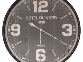 Antic Line Creations - pendule murale hôtel du nord 89cm - Horloge Murale