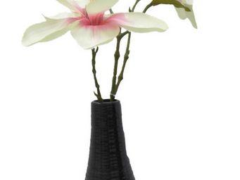 jardindeco - magnolia rose 47cm en vase noir - Fleur Artificielle