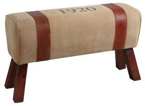 Aubry-Gaspard - banc en coton et cuir - Fauteuil Et Pouf