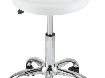 ID'CLIK - tabouret de bureau agathe blanc - Tabouret � Roulettes