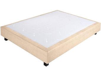 CROWN BEDDING - sommier ressorts chambly tissu beige 160x200 beige - Sommier Fixe À Ressorts