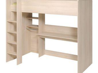 WHITE LABEL - lit multifonctions acacia clair - kirt - l 207 x l - Lit Mezzanine Enfant