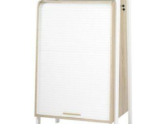 WHITE LABEL - armoire informatique à rideau - arkos n°2 - l 77 x - Armoire De Bureau