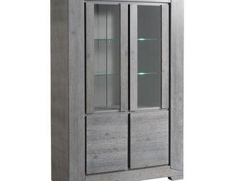 WHITE LABEL - vaisselier 4 portes chêne grisé - titus - l 126 x - Vaisselier