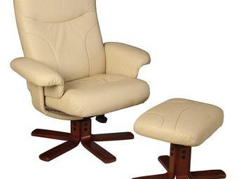 WHITE LABEL - fauteuil de relaxation cuir ivoire - joy - l 75 x - Fauteuil De Relaxation